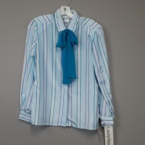 Vintage Laura Mae striped bow tie blouse NWT